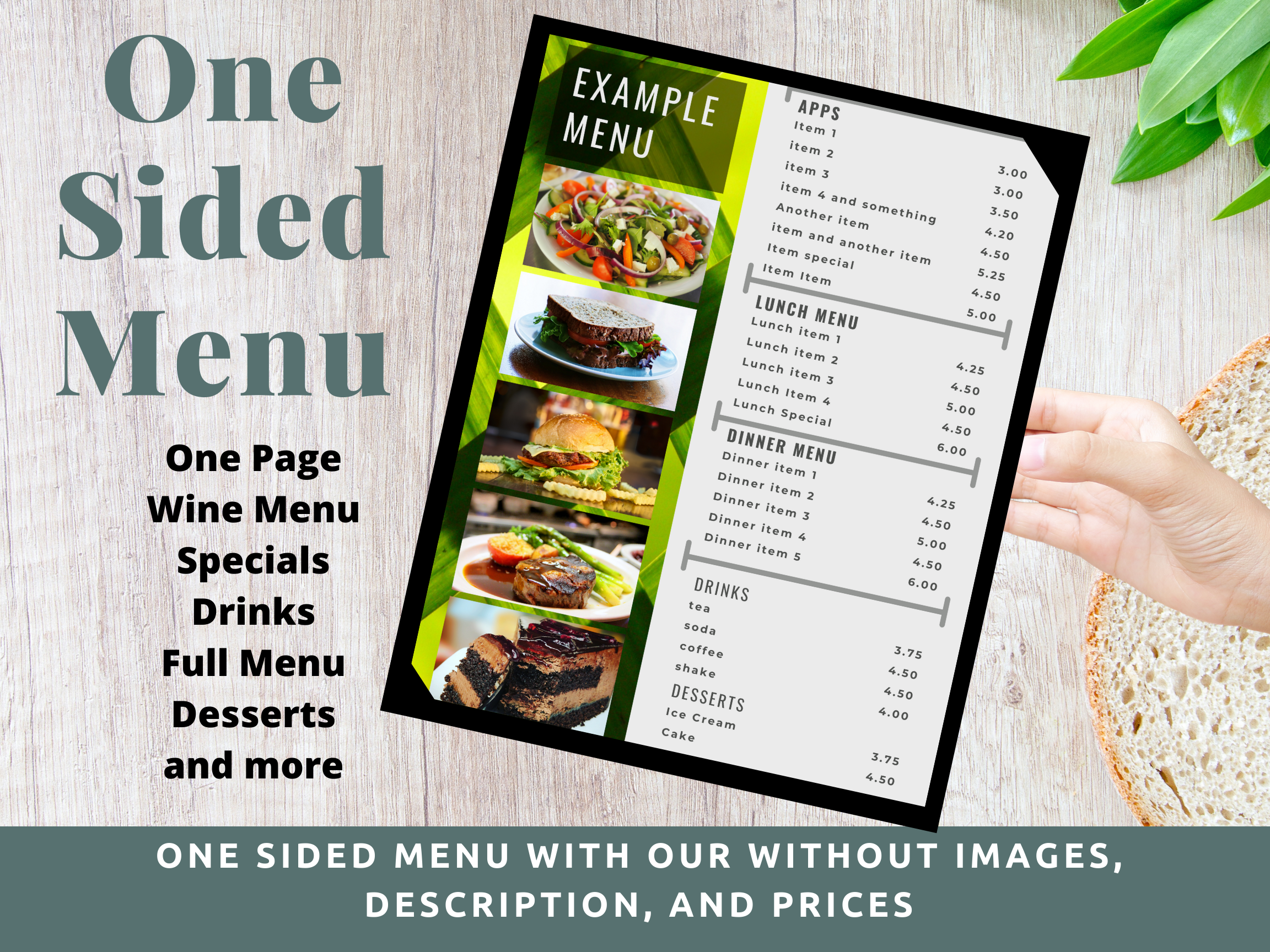 $45 Menu One Side with our without graphics
