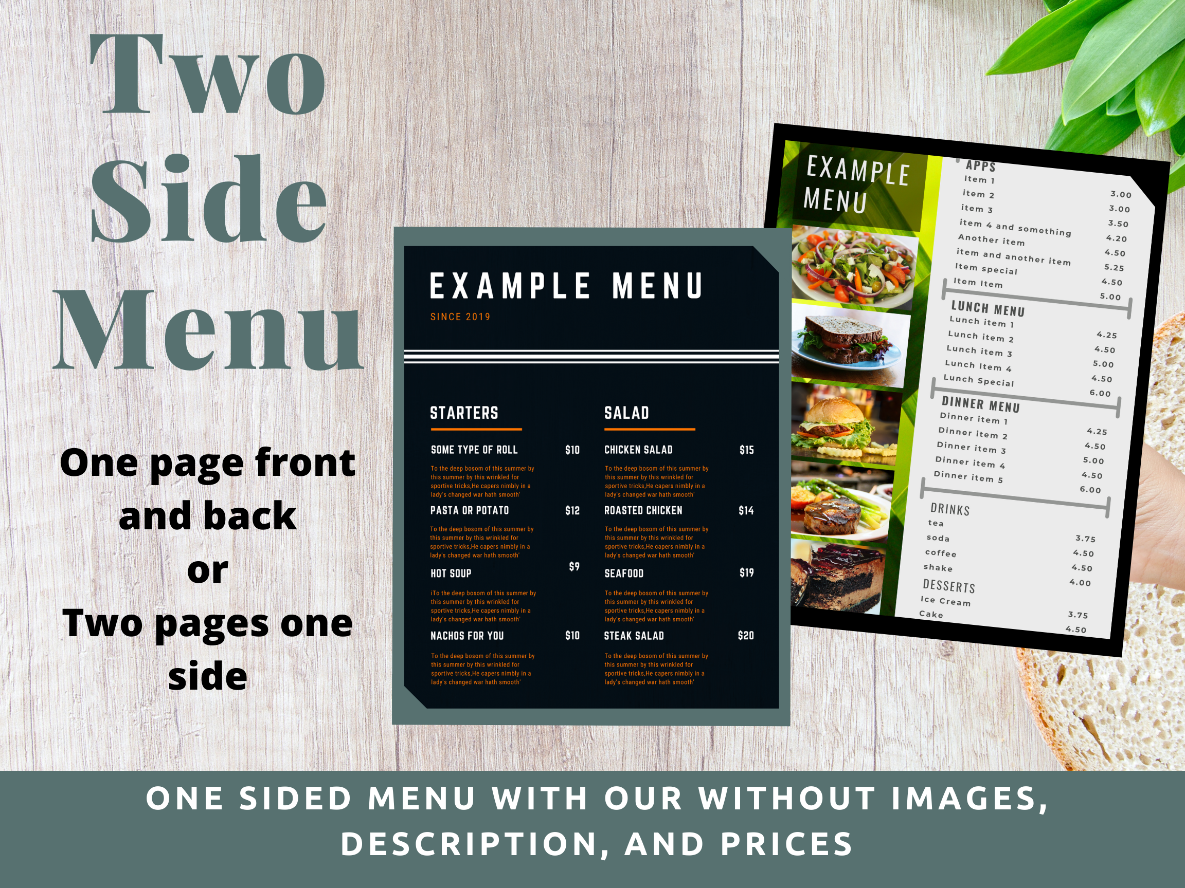 $75 Menu Two Sides (front/back or two pages one side)